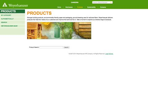 Screenshot of Products Page weyerhaeuser.com - Products - captured Nov. 3, 2014