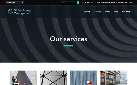 Screenshot of Services Page glimma.com - Global Image Management (GLIMMA): Our Services - captured Nov. 10, 2018