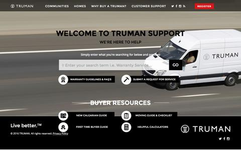 Screenshot of Support Page trumanhomes.com - Home - captured March 11, 2016