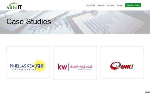 Screenshot of Case Studies Page vineit.com - Case Studies | VineIT for Business | SimplicITy Suite - captured Jan. 11, 2016