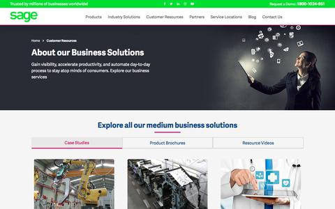 Screenshot of Case Studies Page sagesoftware.co.in - Customer Service Resources | Sage Software Solutions - captured July 22, 2019