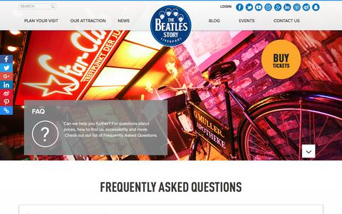 Screenshot of FAQ Page beatlesstory.com - FAQs | The Beatles Story, Liverpool - captured Nov. 5, 2017