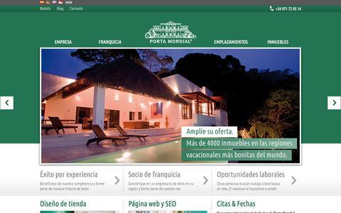 Screenshot of Home Page portamondial.es - Franquicias de inmuebles a nivel internacional - España y Alemania - captured Sept. 18, 2015