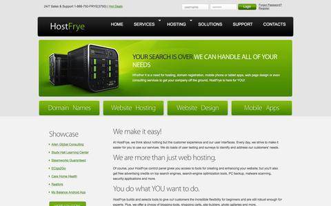 Screenshot of Services Page hostfrye.com - HostFrye | Services - captured Dec. 12, 2015