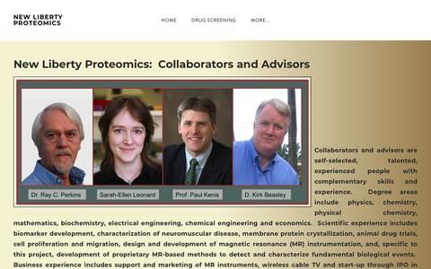 Screenshot of About Page newlibertyproteomics.com - About NLP - NEW LIBERTY PROTEOMICS - captured Oct. 20, 2018