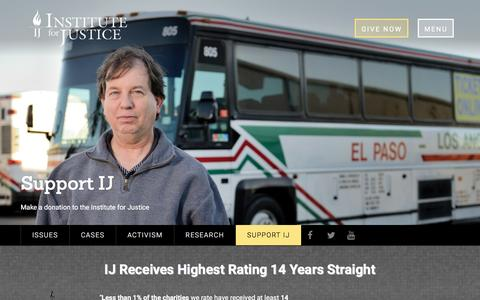 Screenshot of Support Page ij.org - Support - Institute for Justice - captured Jan. 26, 2016