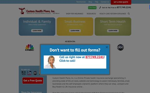 Screenshot of Jobs Page customhealthplans.com - Careers at Custom Health Plans Texas - captured Feb. 2, 2016