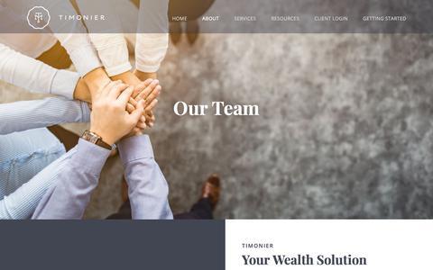 Screenshot of Team Page timonier.com - Our Team – Timonier - captured Oct. 20, 2018