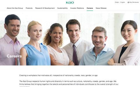 Screenshot of Jobs Page kao.com - Kao   Careers - captured Sept. 22, 2018