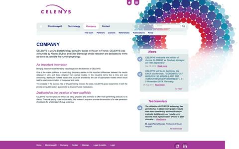 Screenshot of About Page celenys.com - Company  –  Celenys - captured Sept. 26, 2014