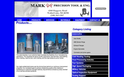 Screenshot of Products Page markprecisiontool.com - Our Products - captured Jan. 22, 2016