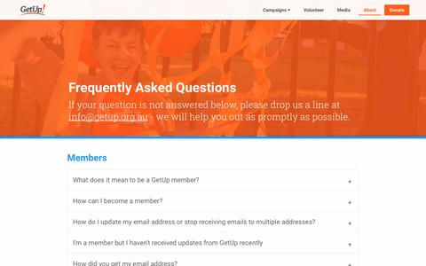 Screenshot of FAQ Page getup.org.au - GetUp! People. Power. Impact. | An independent movement to build a progressive Australia and bring participation back into our democracy. - captured July 18, 2018