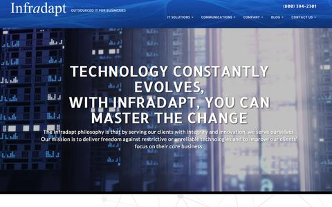 Screenshot of Home Page infradapt.com - Managed IT Services & Support | Infradapt - Outsourced IT for Businesses - captured Sept. 14, 2018