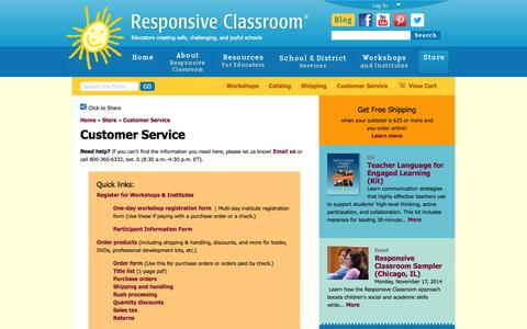 Screenshot of Support Page responsiveclassroom.org - Customer Service | Responsive Classroom - captured Nov. 4, 2014