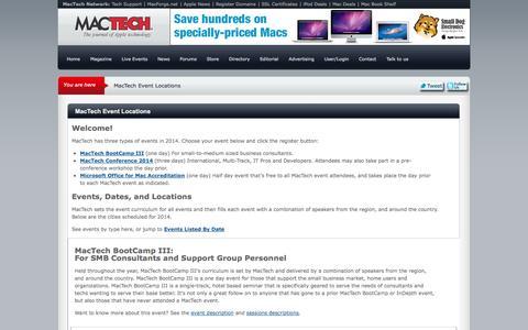 Screenshot of Locations Page mactech.com - MacTech Event Locations | MacTech - captured Sept. 19, 2014