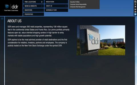 Screenshot of About Page ddr.com - About DDR Corp. | Commercial Real Estate & Retail Space for Lease - captured Sept. 23, 2014