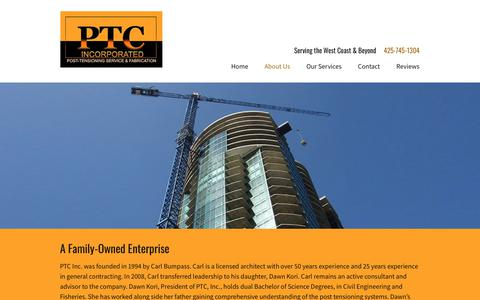 Screenshot of About Page ptcables.com - About PTC Inc | Everett, WA Post-Tensioning Materials - captured Sept. 26, 2018