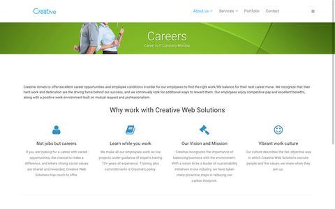 Screenshot of Jobs Page creativewebsols.com - Careers in IT Company Mumbai,Vacancies at Software Company | Web Design Mumbai - captured Nov. 13, 2016