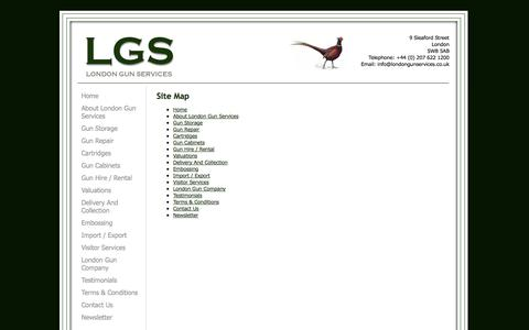 Screenshot of Site Map Page londongunservices.co.uk - London Gun Services - Site Map - captured Oct. 3, 2014