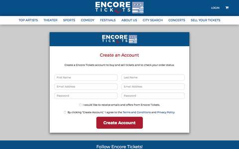 Screenshot of Signup Page encoretix.com - Encore Signup | Encore Tickets - captured Aug. 6, 2017