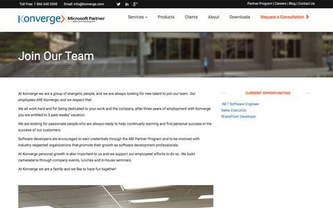 Screenshot of Jobs Page konverge.com - Custom Software Development Toronto, Custom Software Design | Konverge - captured Nov. 27, 2016