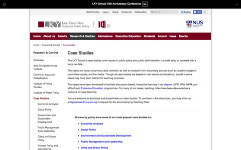 Screenshot of Case Studies Page nus.edu.sg - Case Studies  | Lee Kuan Yew School of Public Policy - captured Sept. 18, 2014