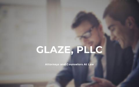 Screenshot of Home Page glazepllc.com - Glaze, PLLC - Home - captured July 19, 2018