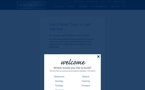 Screenshot of Signup Page porterdavis.com.au - Registration - Porter Davis Homes - captured Sept. 25, 2014