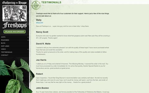 Screenshot of Testimonials Page freshops.com - Testimonials - Freshops - captured Oct. 22, 2018