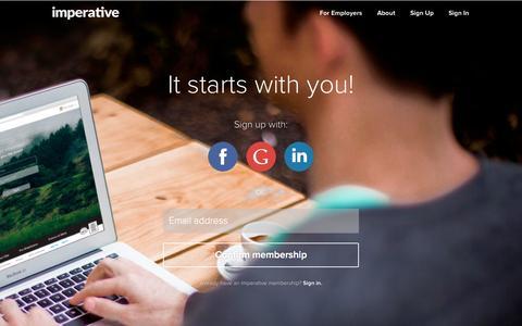 Screenshot of Signup Page imperative.com - Sign Up - captured Oct. 29, 2014