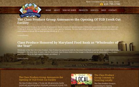Screenshot of Press Page classproduce.com - News - Class Produce - captured Feb. 24, 2016