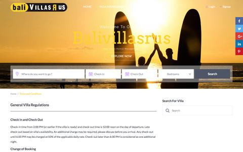 Screenshot of Terms Page balivillasrus.com - Terms and Conditions – Balivillasrus - captured July 28, 2016