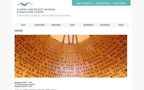 Screenshot of Hours Page ilholocaustmuseum.org - Hours «  Illinois Holocaust Museum and Education Center - captured Nov. 25, 2016