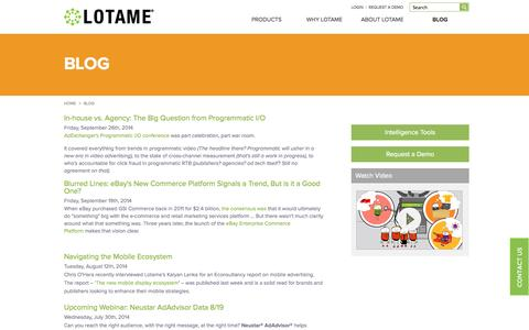 Screenshot of Blog lotame.com - Blog | Lotame Solutions Inc - captured Nov. 1, 2014