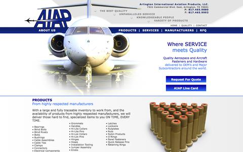 Screenshot of Home Page aiapinc.com - Aviation Fasteners | Arlington International Aviation Products | AIAP INC - captured Aug. 19, 2019