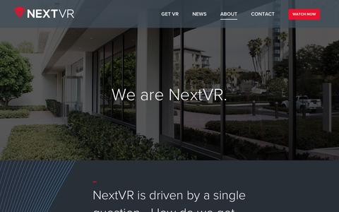 Screenshot of About Page nextvr.com - About | NextVR - captured Dec. 15, 2016