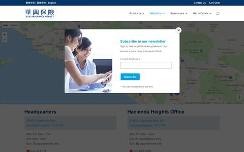 Screenshot of Locations Page kcal.net - Locations - KCAL Insurance Agency - captured Oct. 14, 2018
