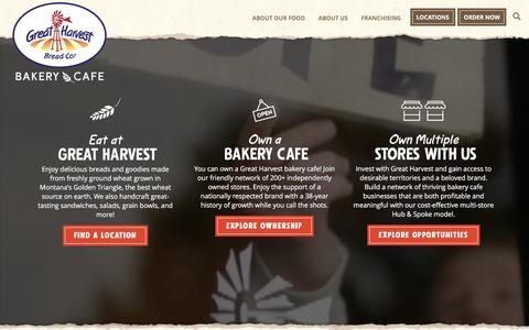 Screenshot of Home Page greatharvest.com - Great Harvest Bread Company - captured Jan. 5, 2017