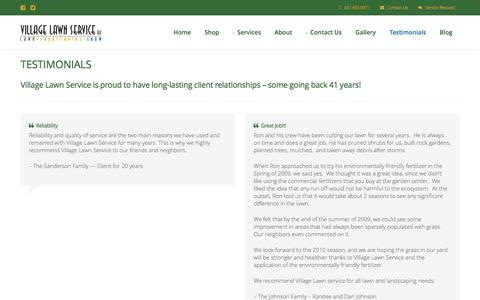 Screenshot of Testimonials Page villagelawnservice.biz - Village Lawn Service in St. Paul, MN - Including Lawn Care, Mowing, Snow Removal & Landscaping - captured June 13, 2017