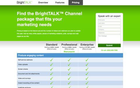Screenshot of Pricing Page brighttalk.com - Video and webinar pricing | BrightTALK - captured Sept. 13, 2014