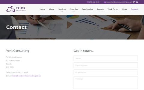 Screenshot of Contact Page yorkconsulting.co.uk - York Consulting - captured Nov. 16, 2018