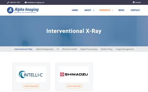 Screenshot of Products Page alpha-imaging.com - Interventional X-Ray – Alpha Imaging - captured Jan. 15, 2020