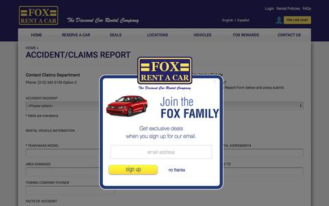 Fox Rent A Car - Accident & Claims Report