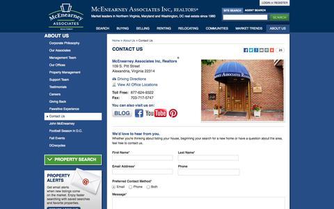 Screenshot of Contact Page mcenearney.com - Contact Us - McEnearney Associates, Inc. REALTORS | Real Estate in Northern Virginia, Washington DC & Maryland - captured Oct. 27, 2014