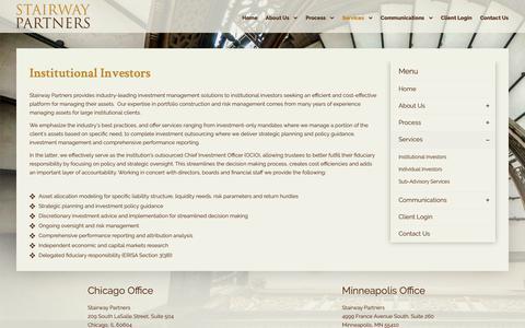 Screenshot of Services Page stairwaypartners.com - Institutional Investors - Stairway Partners - captured Nov. 16, 2018