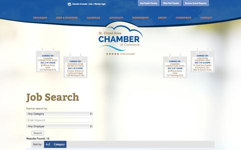 Screenshot of Jobs Page stcloudareachamber.com - Job Search - St. Cloud Area Chamber of Commerce - captured Dec. 1, 2016