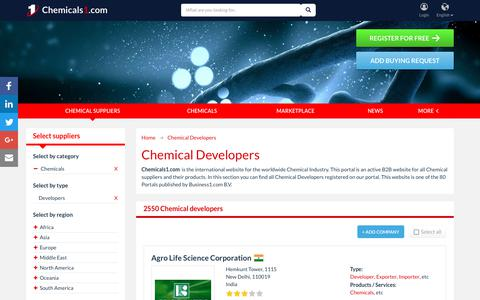 Screenshot of Developers Page chemicals1.com - Chemical Developers - Chemicals1.com - captured Jan. 5, 2018
