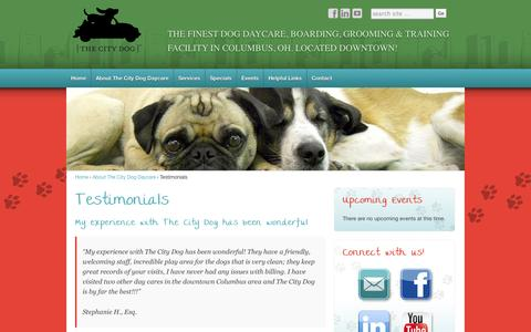 Screenshot of Testimonials Page thecitydogdaycare.com - Testimonials - Columbus, OH - The City Dog Daycare - captured Oct. 26, 2014