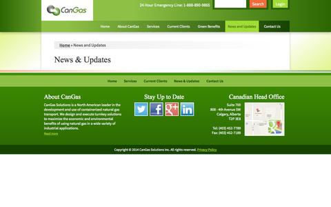 Screenshot of Press Page cangassolutions.com - News & Updates   CanGas Solutions - captured Oct. 1, 2014