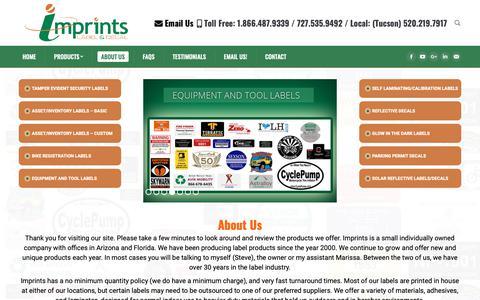 Screenshot of About Page imprints.com - Reflective, Tamper Evident, Inventory Labels & Decals | Imprints - captured Oct. 11, 2018